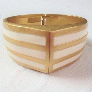 Lia Sophia Large Cuff Bracelet Gold & White Enamel
